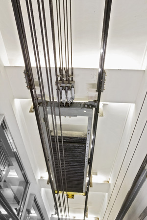 elevator tunnel interior view with cable Stock Photo
