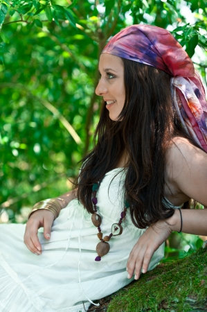 Beautiful hippie girl with headscarf photo