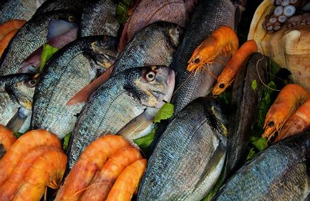 Frischer Fisch und Garnelen auf einem Fischmarkt im Mittelmeergebiet, verse vis en garnalen op een vismarkt in de Middellandse Zee Stockfoto