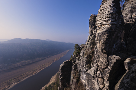 The Elbe Sandstone Mountains and the river Elbe seen from the Moritzbastei photo