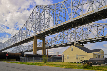 other side of: The 2 bridges over the Mississippi in New Orleans on the other side of the river in Algiers