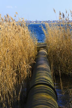 unhygienic: A sewage pipe leads into a lake