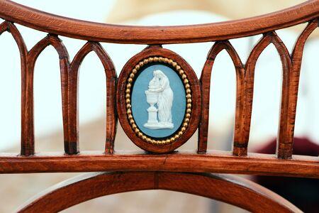 Close up  back of a biedermeier chair