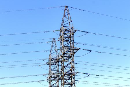 metal grid: Power transmission line on high voltage post.