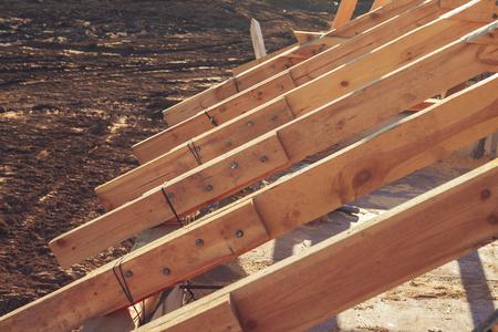 joist: New residential wooden construction home framing against