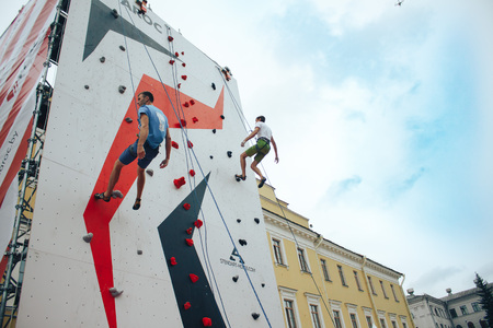MINSK, BELARUS.JULY 29 2017 Competitions in rock-climbing Editorial