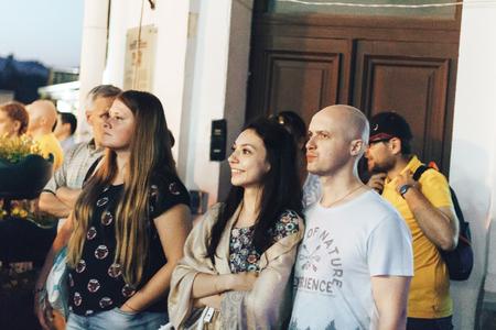 kaunas: MINSK, BELARUS.JULY 29, 2017 People watching the performance on the street