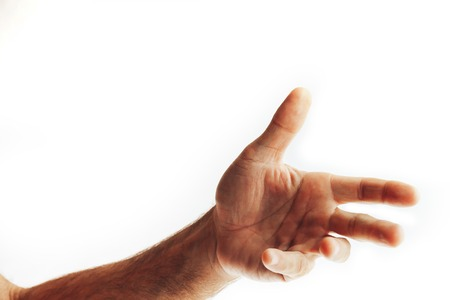 adult man hand to hold something, isolated on white Archivio Fotografico