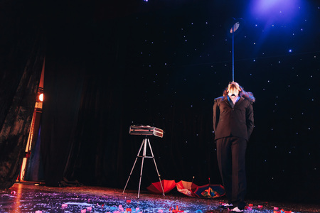 MINSK, BELARUS November 4 2017 International Illusion Festival MAGIC 2017 The male magician shows the performance on stage Editorial