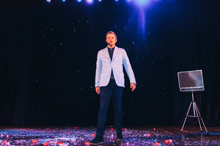 MINSK, BELARUS November 4 2017 International Illusion Festival MAGIC 2017 A young magician shows the performance on stage