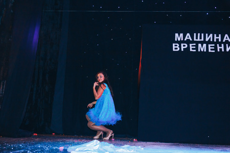 MINSK, BELARUS November 4 2017 International Illusion Festival MAGIC 2017 The magician girl shows the performance on stage Editorial