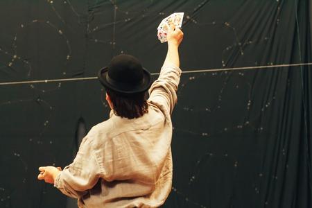 MINSK BELARUS November 4 2017 International Illusion Festival MAGIC Seminar Man Shows Tricks With