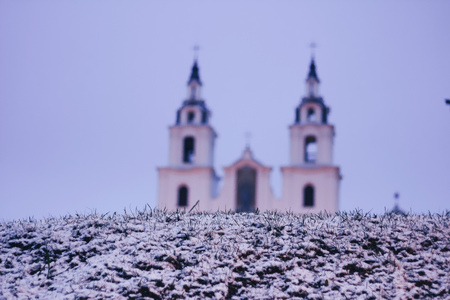 Orthodox Church early in the morning, the first snow fell out Stock Photo
