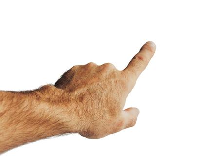 Męska ręka wskazuje palcem. Na białym tle