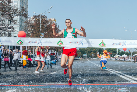 September 9, 2018 Minsk Belarus Half Marathon Minsk 2018 A man runs on the road and finishes first Editorial