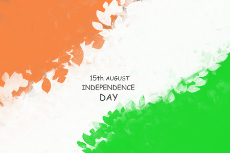 Abstract image in the form of foliage in the colors of the national flag of India for Republic Day and Independence Day. Inscription about the day of the holiday