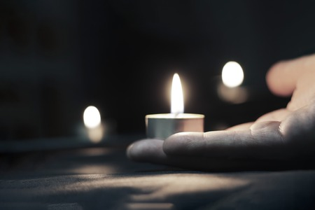 Memorial Day International Holocaust Remembrance Day On Memorial Day, people carry lighted candles. Stock Photo