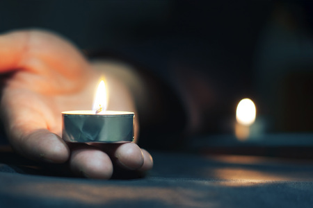 Memorial Day International Holocaust Remembrance Day Lighted candles are tears of memory Close up Reklamní fotografie