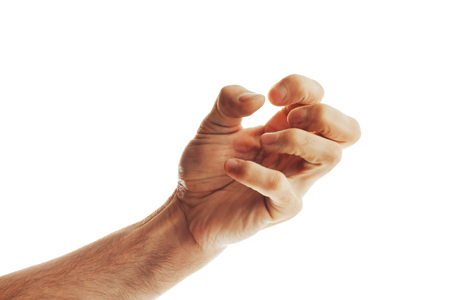 Man squeezes his hand in convulsion Isolated on white background