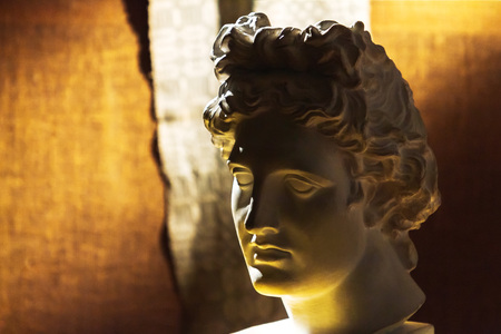Young male ancient marble portrait bust Close up Фото со стока