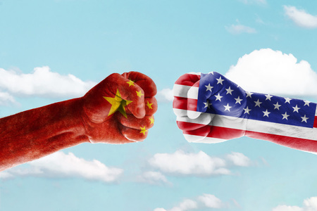 Concept trade war between usa and china against blue sky Stock Photo