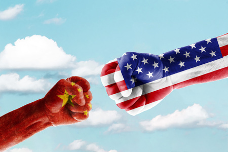 Concept trade war between usa and china against blue sky
