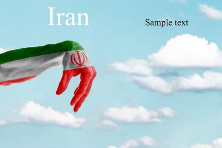 Layout for the designer Hand painted in the colors of the flag of Iran. The inscription Iran on a blue sky background. The inscription Sample text to indicate text insertion.