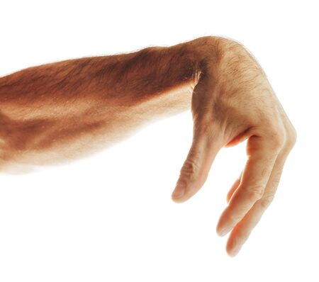 Mature man's hand shows palm down gesture isolated on white background Stock fotó