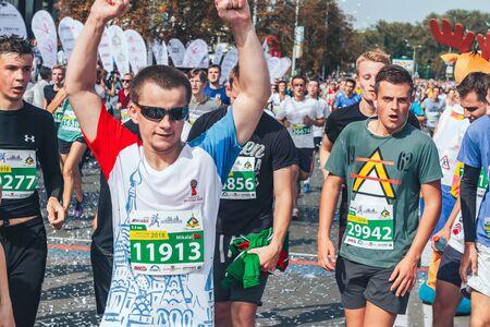 September 9, 2018 Minsk Belarus Half Marathon Minsk 2018 Young athletes run through the finish line at the marathon Editorial