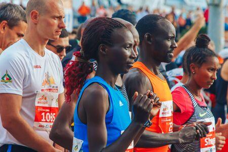 September 15, 2018 Minsk Belarus Half Marathon Minsk 2019 Athletes of different skin colors are waiting for the start of the marathon