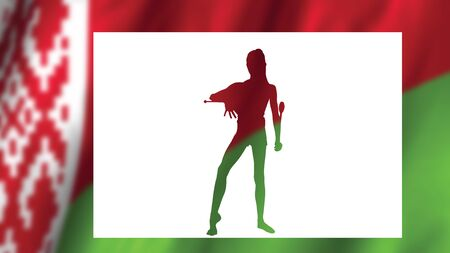 Concept silhouette of a young gymnast on white against the background of the flag of the Republic of Belarus