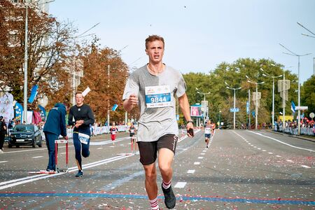 September 15, 2018 Minsk Belarus Half Marathon Minsk 2019 Marathon runner crosses the finish line of the half marathon Editorial