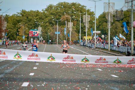 September 15, 2018 Minsk Belarus Half Marathon Minsk 2019 Athletes marathon leaders run straight to the finish line