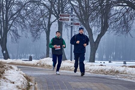 February 9, 2019 Minsk Belarus Run dedicated to February 14 For the Qahanna 新聞圖片