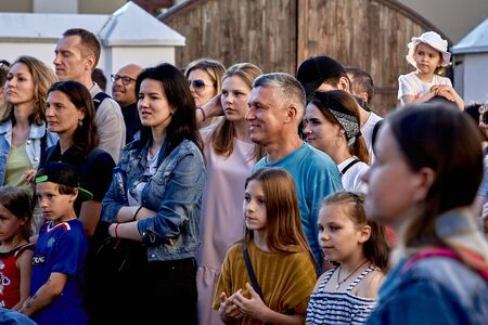 June 1, 2019 Minsk Belarus Cheerful crowd watching a public concert at saturday summer evening at street