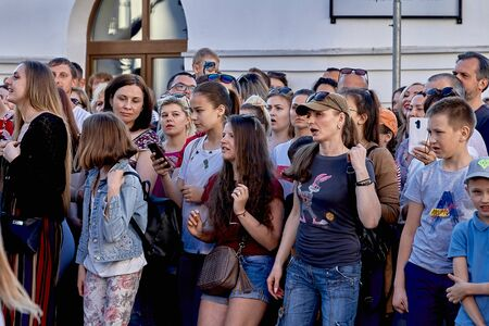 June 1, 2019 Minsk Belarus Crowd watching a public concert at saturday summer evening at street