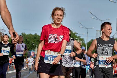 September 15, 2018 Minsk Belarus Half Marathon Minsk 2019 Many fast runners during a marathon race on the finish line