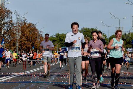 September 15, 2018 Minsk Belarus Half Marathon Minsk 2019 Athletes competitors run at the finish of the marathon