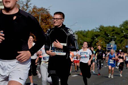 September 15, 2018 Minsk Belarus Half Marathon Minsk 2019 Close up competitor runs of the marathon Éditoriale