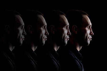 Duplicate portrait of a brutal person the concept of a repeating face Foto de archivo