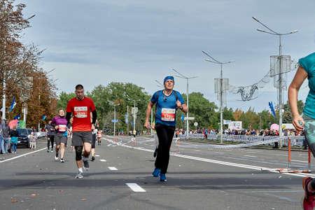 September 15, 2019 Minsk Belarus Active participants of the marathon run along the city road