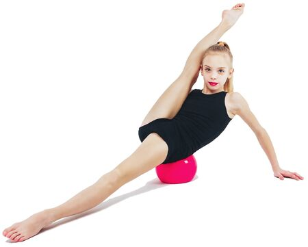 Girl gymnast with a red sword slides