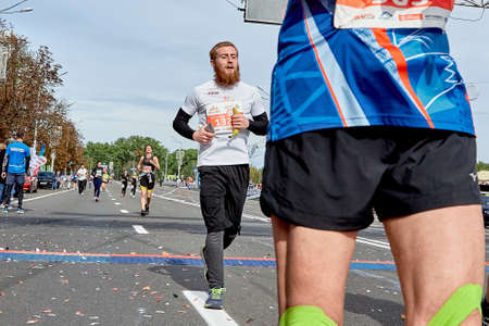 September 15, 2019 Minsk Belarus An athlete with a red beard crosses the finish line of the marathon Éditoriale