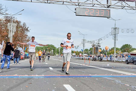 September 15, 2019 Minsk Belarus A marathon race in which participants run to the finish line on a city road Éditoriale