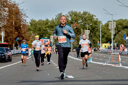 September 15, 2019 Minsk Belarus A marathon race in which the winner runs ahead of the participants Editorial