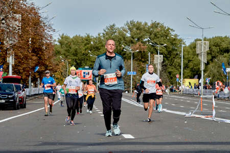 September 15, 2019 Minsk Belarus A marathon race in which the winner runs ahead of their competitors