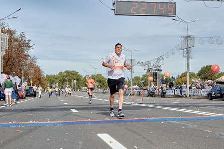 September 15, 2019 Minsk Belarus An athlete crosses the finish line of a marathon