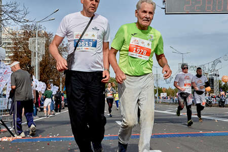 September 15, 2019 Minsk Belarus A marathon race in which two athletes cross the finish line in close up