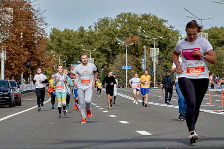 September 15, 2019 Minsk Belarus A marathon race in which competitors run on a city road
