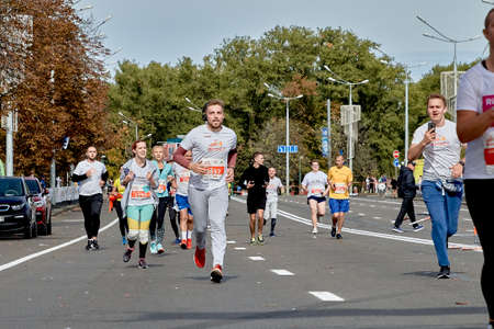September 15, 2019 Minsk Belarus A marathon race in which athletes run on a city road
